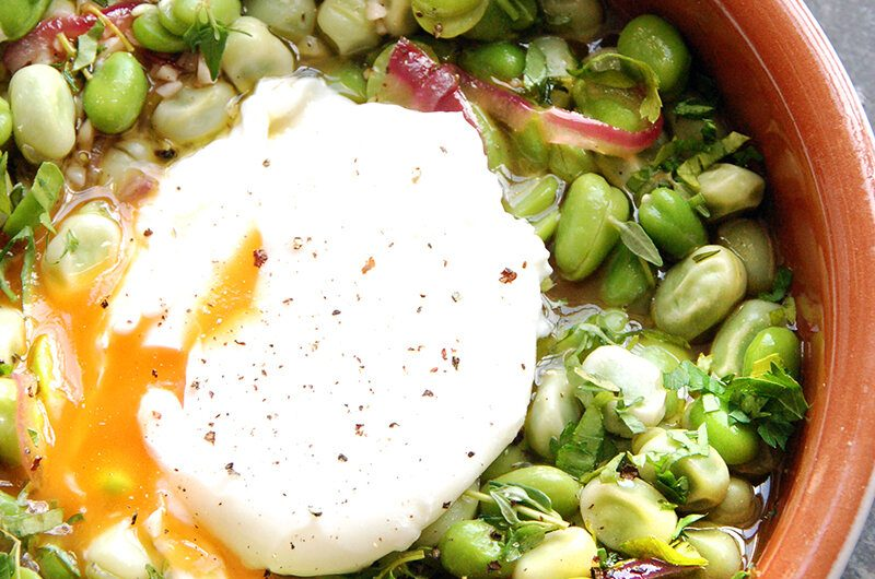 Slow Broad Beans & Egg